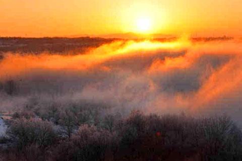 喀什河现雾凇奇观(好像加了特效一样的大自然