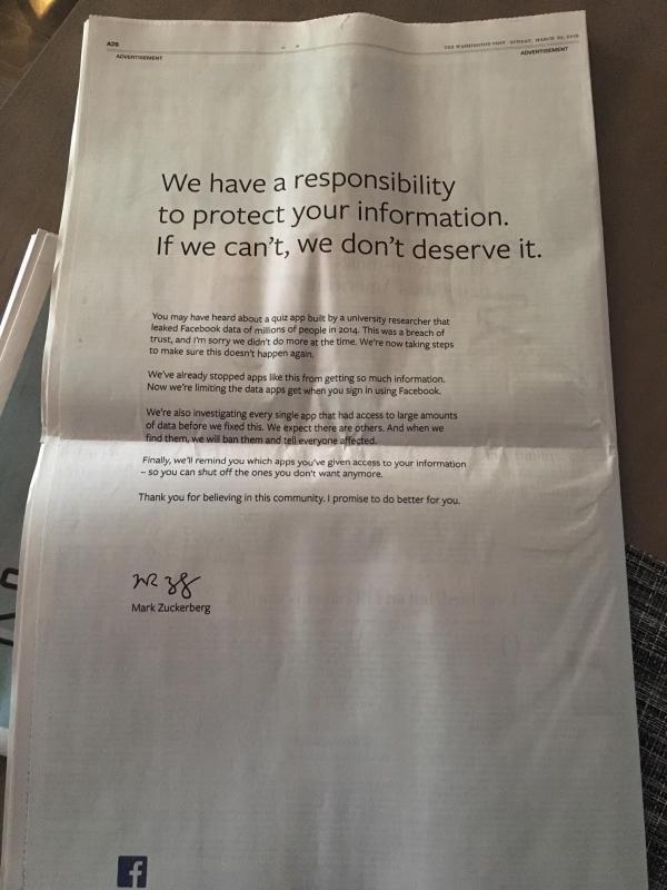 扎克伯格登报道歉,买下英美9家报纸巨幅广告板块!