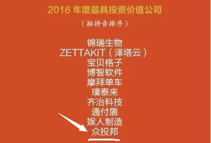 """众投邦荣获融资中国资本年会""""2016年度最具投资价值公司"""""""