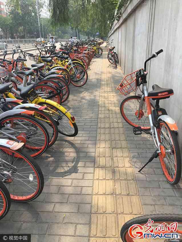 北京300米共享单车带行人道遭霸占