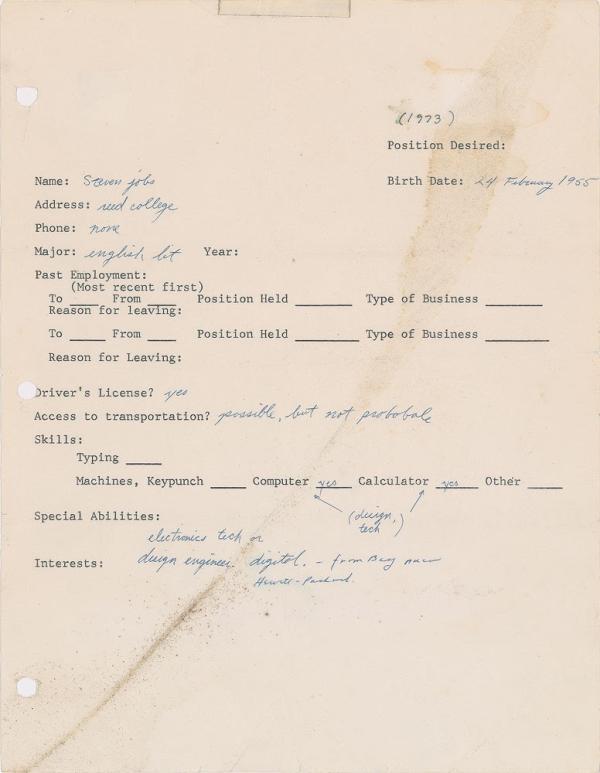 乔布斯18岁时的求职申请将拍卖:有拼写错误,5万美元起拍!