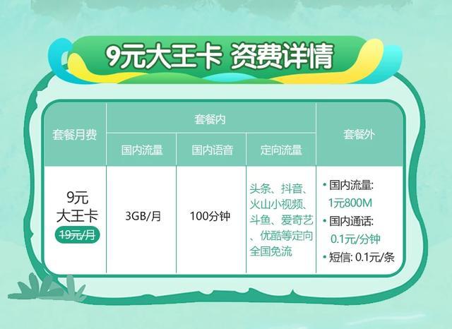 性价比惊人!电信9元大王卡火速上线:送3GB全国流量